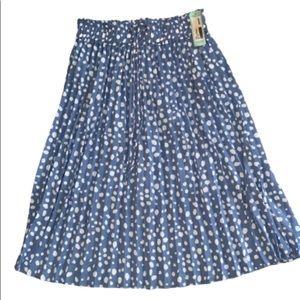 NWT Le Lis Pleated Kamille Polka Dot Skirt